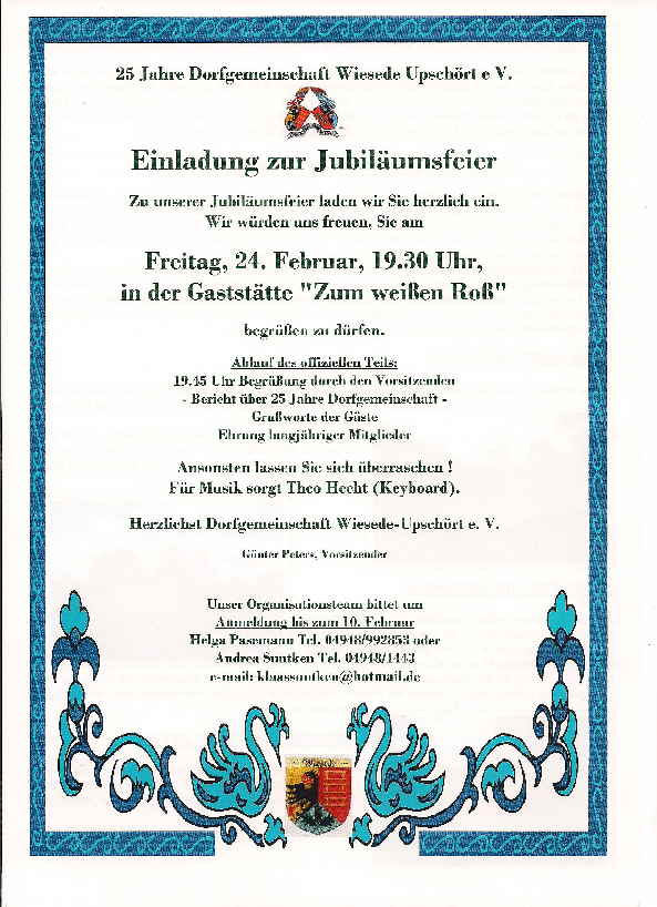 einladung zum 25 jährigen dienstjubiläum - vorlagen, Einladung