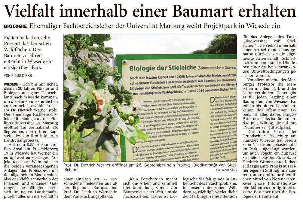 2015  08.21.  AZH Bericht über Biodiversität der Stieleiche